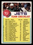 1974 Topps Football Team Checklists #19   Jets Team Checklist Front Thumbnail