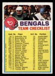1974 Topps Football Team Checklists #5   Bengals Team Checklist Front Thumbnail