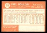 1964 Topps #518  Carl Bouldin  Back Thumbnail