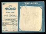 1961 Topps #29  Jim Ninowski  Back Thumbnail