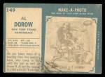 1961 Topps #149  Al Dorow  Back Thumbnail