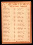 1964 Topps #5   -  Sandy Koufax / Jim Maloney / Don Drysdale NL Strikeout Leaders Back Thumbnail