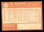 1964 Topps #359  Jim Schaffer  Back Thumbnail
