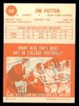 1963 Topps #58  Jim Patton  Back Thumbnail