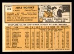 1963 Topps #224 ERR Mike Roarke  Back Thumbnail