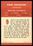 1963 Fleer #9  Tom Tommy Addison  Back Thumbnail