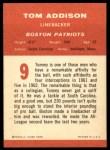 1963 Fleer #9   Tommy Addison  Back Thumbnail
