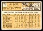 1963 Topps #483  Jim Owens  Back Thumbnail