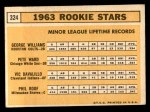 1963 Topps #324   -  George Williams / Pete Ward / Vic Davalillo / Phil Roof Rookies   Back Thumbnail