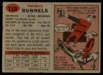 1957 Topps #110  Tom Runnels  Back Thumbnail