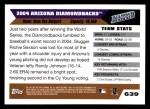 2005 Topps #639   Arizona Diamondbacks Team Back Thumbnail