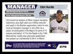 2005 Topps #276  Clint Hurdle  Back Thumbnail