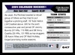 2005 Topps #647   Colorado Rockies Team Back Thumbnail