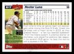 2005 Topps #617  Hector Luna  Back Thumbnail