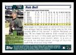 2005 Topps #619  Rob Bell  Back Thumbnail