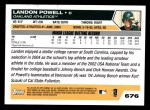 2005 Topps #676  Landon Powell  Back Thumbnail