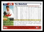 2005 Topps #74  Tim Wakefield  Back Thumbnail