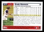 2005 Topps #377  Grady Sizemore  Back Thumbnail