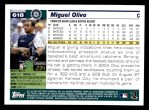 2005 Topps #618  Miguel Olivo  Back Thumbnail