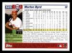 2005 Topps #525  Marlon Byrd  Back Thumbnail