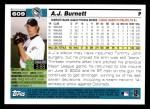 2005 Topps #609  A.J. Burnett  Back Thumbnail
