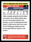 2005 Topps #706   -  Todd Helton Golden Glove Back Thumbnail