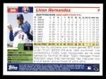 2005 Topps #36  Livan Hernandez  Back Thumbnail