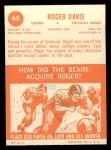 1963 Topps #65  Roger Davis  Back Thumbnail