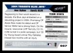 2005 Topps #667   Toronto Blue Jays Team Back Thumbnail