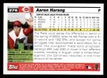 2005 Topps #376  Aaron Harang  Back Thumbnail