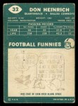 1960 Topps #32  Don Heinrich  Back Thumbnail