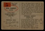 1954 Bowman #19  John Cannady  Back Thumbnail