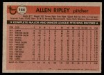 1981 Topps #144  Allen Ripley  Back Thumbnail