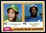 1981 Topps #4   -  Ron LeFlore / Rickey Henderson SB Leaders Front Thumbnail