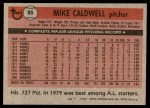 1981 Topps #85  Mike Caldwell  Back Thumbnail