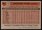1981 Topps #142  Jackson Todd  Back Thumbnail