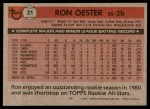 1981 Topps #21  Ron Oester  Back Thumbnail