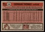 1981 Topps #135  Gorman Thomas  Back Thumbnail