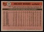 1981 Topps #145  Mickey Rivers  Back Thumbnail
