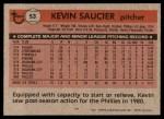1981 Topps #53  Kevin Saucier  Back Thumbnail