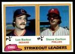 1981 Topps #6   -  Steve Carlton / Len Barker ERA Leaders Front Thumbnail