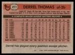 1981 Topps #211  Derrel Thomas  Back Thumbnail