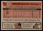 1981 Topps #232  Mickey Klutts  Back Thumbnail