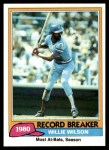 1981 Topps #208   -  Willie Wilson Record Breaker Front Thumbnail