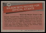 1981 Topps #208   -  Willie Wilson Record Breaker Back Thumbnail