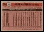 1981 Topps #169  John Mayberry  Back Thumbnail