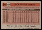 1981 Topps #239  Rick Miller  Back Thumbnail