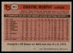 1981 Topps #341  Dwayne Murphy  Back Thumbnail