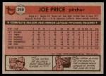 1981 Topps #258  Joe Price  Back Thumbnail