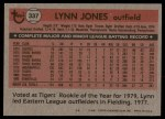 1981 Topps #337  Lynn Jones  Back Thumbnail
